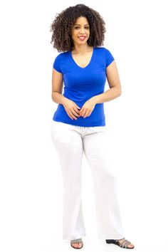 Plus White Linen Pocketed Pants paired with Royal V-Neck Tee | Danice Stores