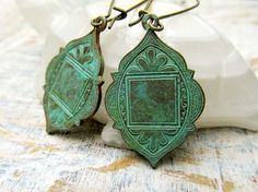 Your place to buy and sell all things handmade - Bohemian earrings Moroccan Ethnic earrings patina dangle earrings boho Bohemian Jewelry Magazine F - Beads Jewelry, Ethnic Jewelry, Bohemian Jewelry, Jewelery, Unique Jewelry, Jewelry Accessories, Fashion Accessories, Jewelry Design, Fashion Jewelry