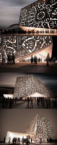 The Polish pavilion designed for Shanghai EXPO 2010 by the WWAA Architects. The pavilion features a perforated façade, inspired by traditional Polish folk-art paper cutouts.
