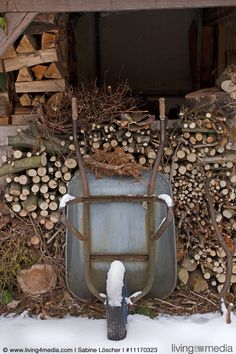 Wheelbarrow leaning against stacked firewood