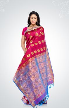 Magenta pure silk saree with hexagonal, gold motifs - RmKV Silks