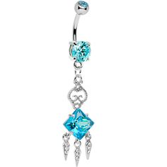 Aqua Gem Clear Gem Icicles Curlicue Chandelier Belly Ring | Body Candy Body Jewelry #bodycandy #piercings #bellyring