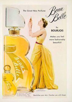 1949 Ad Vintage Beau Belle Perfume Bourjois Fragrance Pauline Trigere Dress Gown