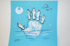 "Hand print penguins on an iceberg.....Follow for Free ""too-neat-not-to-keep"" teaching tools & other fun stuff :)"
