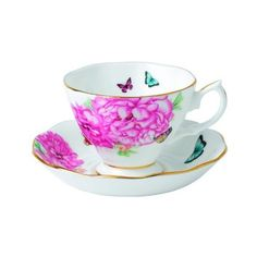 Royal Albert Friendship Teacup and Saucer Set Designed by Miranda Kerr (€17) ❤ liked on Polyvore featuring home, kitchen & dining, drinkware and everyday drinkware