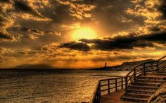 La Cala Bay at Sunset in Malaga, Spain.
