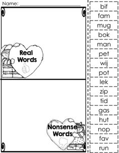 4 center or small group activities and many different fun printables that focus on reading nonsense and real words. Perfect for DIBLES or AimsWeb nonsense word practice.  Please view preview to see all that included.
