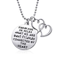 """""""Connected By The Heart"""" Best Friends Charm Necklace OR Keychain Silvertone charm measures approx 25mm with inscription: """"Side by side or miles apart we are Best Friends connected by the heart"""" Smalle"""