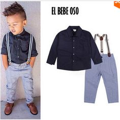 EL BEBE OSO Baby Boys Gentleman Formal Suits Little Kids Boy T-shirt+Suspender Trousers Overall Outfits Autumn Clothing Set