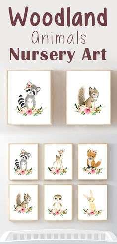 I love the look of these woodland animals wall art prints! They would be so darling in a baby nursery or child's playroom. They are really cute and gender neutral! #nurserydecorideas #nurserydecor #ad