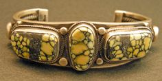 New Landers Calcasiderite Turquoise bracelet is hand made by Victor Begay, Navajo.