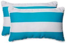 Pillow Perfect Cabana Stripe Outdoor 2-Piece Lumbar Throw Pillow Set - Blue