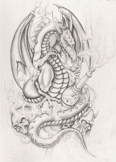 dragon with hooka by markfellows on DeviantArt Wing Tattoo Designs, Tattoo Design Drawings, Feather Tattoos, Body Art Tattoos, Skull Tattoos, Tatoos, Wizard Drawings, Angel Devil Tattoo, Badass Drawings