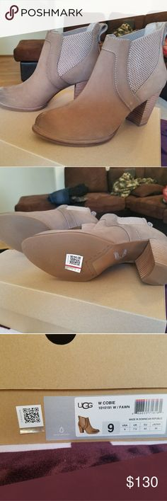 100% AUTHENTIC  UGG Booties size 9 100% AUTHENTIC UGG Booties   Size 9  Style is called Cobie. Color is Fawn  Comes in original box with dust bag  Never worn  I will accept all reasonable offers UGG Shoes Ankle Boots & Booties