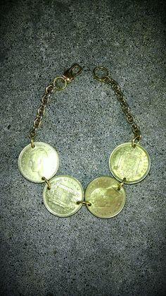 VINTAGE Foreign 4 gold color coins money Juan Carlos by bleustuff1, $7.99