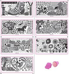 Amazon.com : Ship From USA--HipGirl Nail Art Stamp Collection Set #1 - 7 Large Nailart Polish Stamping Manicure, French Tip Image Plates Accessories Kit (Over 130 Images) with Bonus Stamper and Scraper : Beauty