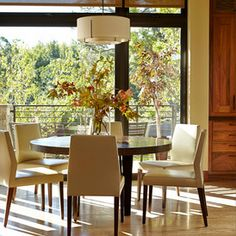 Contemporary Dining Room Design Ideas, Pictures, Remodel and Decor Studio Interior, Interior Design, Dining Chairs, Dining Table, Beautiful Dining Rooms, Dining Room Lighting, Custom Cabinetry, Dining Room Design, Home Furnishings