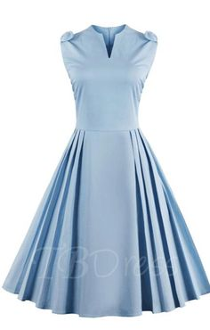 TBDress - TBDress Light Blue Ruffled Womens Vintage Dress - AdoreWe.com