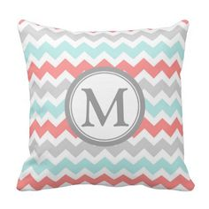 Elegant and modern peach, turquoise light blue, gray and white chevron zigzags stripes pattern custom monogram decorative throw pillow. Fully customizable, add your own initial for a truly unique home decor item.
