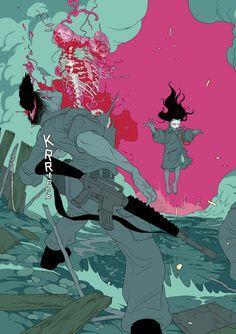 "astromech-punk: ""The Divine graphic novel cover by Tomer Hanuka "" Bd Comics, Estilo Anime, Dope Art, Cyberpunk, Art Inspo, Graphic Art, Graphic Novels, Art Reference, Comic Art"
