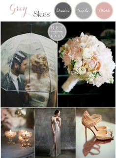 Gray Skies - Glowing Winter Wedding Inspiration in Gray and Blush - Love rose, grey, gold, ivory - BB