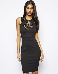 TFNC Body-Conscious Dress With Lace Inserts