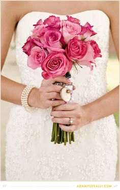 Pink Roses. Bridal Bouquet.