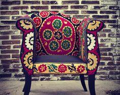 Sillón vintage suzani retapizados muebles hecho a mano por BirBor