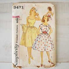 vintage 60s Simplicity 3471 Sun Dress with Full Skirt pattern. $4.75, via Etsy.