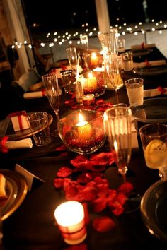 black, white, and red wedding | ... love the black table cloth with the red petals. What a classy touch