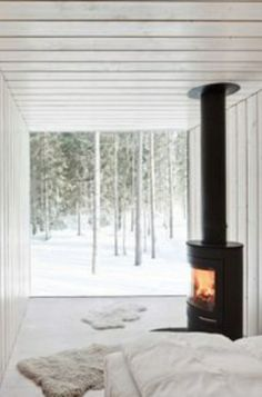 I love this concept for a wood-burning stove. #Moderncabin
