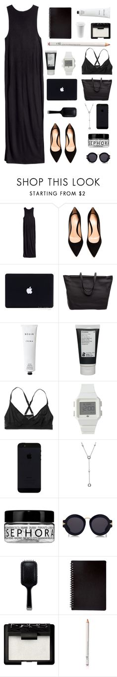 """""""25 June 2016"""" by chelsjames ❤ liked on Polyvore featuring H&M, Gianvito Rossi, The Row, Rodin, Korres, adidas, Tiffany & Co., Sephora Collection, Karen Walker and GHD"""