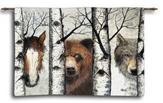 "Trio - Horse Brown Bear & Gray Wolf Tapestry Wall Hanging 34"" x 26"""
