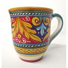 Antico Geometrico Bell-Shaped Large Mug - Italian pottery hand-painted in Deruta - perfect for a cup of coffee or tea or any hot drink - love red! Painted Coffee Mugs, Mexican Ceramics, Talavera Pottery, Italian Pottery, Ceramic Studio, Pottery Mugs, Ceramic Cups, Home Crafts, Coffee Cups