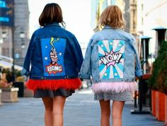 ❣❣LOVE for these jackets 💕💕 of Daria & Maria Design 🔝🔝 Painted Denim Jacket, Painted Jeans, Painted Clothes, Fashion Wear, Denim Fashion, Fashion Outfits, Custom Clothes, Diy Clothes, Gilet Jeans