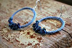 California Hippie Hoop Earrings Hipster Sky Blue by LavenderField, $21.00