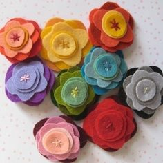 Felt flowers. Cute. Just food for thought.