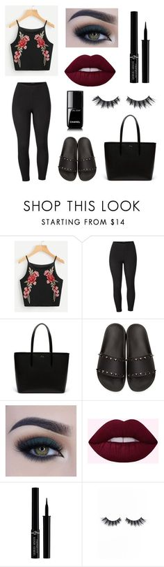 """""""Sans titre #77"""" by khlooe ❤ liked on Polyvore featuring Venus, Lacoste, Valentino, Too Faced Cosmetics, Giorgio Armani, Violet Voss, Chanel and plus size clothing"""