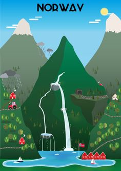 """And the third pic in the series of vector graphics of countries: Beautiful, beautiful Norway - this was a real challenge, and still I think that nothing (especially """"only"""" a vector pic of the fjord. Beautiful Norway, Norway Travel, Travel Illustration, Vintage Travel Posters, Drawing For Kids, Vector Graphics, Drawings, Bergen, Flat Design"""