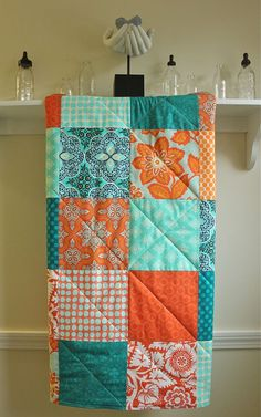 Modern Baby Quilt - Turquoise and Tangerine - Flannel or Minky Back - Aqua and Orange - Toddler Quilt
