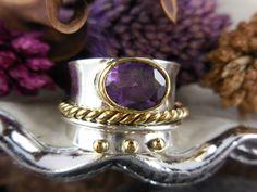 Amethyst Gemstone Sterling Silver & Brass Ring - Size 7