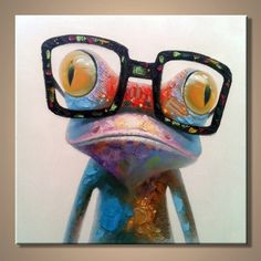 Cartoon Oil Painting on Canvas Abstract Animal Art for Home Decoration