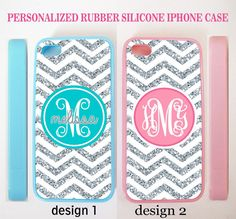 NEW PERSONALIZED CHEVRON (w/out glitter) MONOGRAM CASE FOR IPHONE X 8 7 6S SE 5S #UnbrandedGeneric