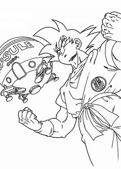 Goku from Dragon ball Z coloring pages for kids, printable free