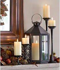 Lantern and candlesticks.