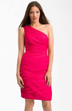 ML Monique Lhuillier Bridesmaids One Shoulder Pleated Chiffon Dress available at Nordstrom