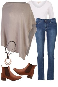 The Long Sleeve V Neck Tee Poncho Pal Outfit includes bird keepers, Lola Jeans, and Therapy - Birdsnest Online Fashion Source by fashion ponchos Style Casual, Casual Work Outfits, Cute Outfits, My Style, Dress Outfits, Stylish Outfits, Dress Shoes, Look Fashion, Fashion Outfits