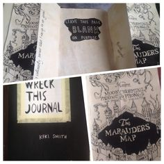 """A natalie manning original idea! lol. The instructions said leave this page blank on purpose. I made the page harry potter themed. The marauder's map disguises itself as a BLANK piece of paper if you say """"mischief managed."""" I think it was clever, and turned out pretty good!"""