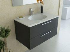 Cheap Vanity Units w/ Basins & Bathroom Sinks Bathroom Vanity Units, Wall Mounted Vanity, Cheap Vanity, Black Walls, Bathroom Interior Design, Sink, The Unit, Flat, Sink Tops