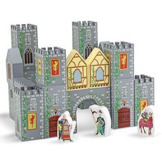 Melissa and Doug Wooden Castle Blocks Playset Wooden Castle, Toy Castle, Wooden Building Blocks, Building Toys, Wooden Blocks, Wooden Marble Run, Small Castles, Wooden Playset, Wooden Toys